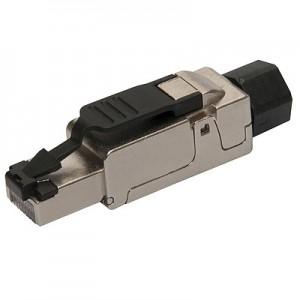 Wtyk STP kat.6a RJ-45, beznarzędziowy, prosty (Solarix SXRJ45-6-STP-BK-SA)