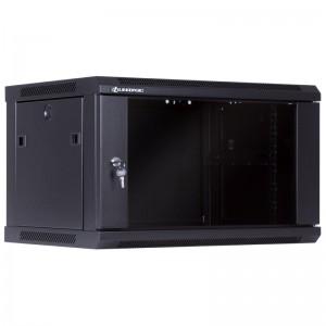 """Szafa rack 19"""" 6U 600x450, wisząca, z szybą, jednosekcyjna, czarna (Linkbasic WCB06-645-BAA-C)"""