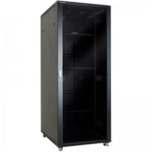 """Szafa rack 19"""" 42U 800x800, stojąca, z szybą, czarna (Linkbasic NCB42-88-BAA-C-STD)"""
