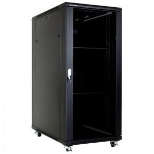 """Szafa rack 19"""" 27U 600x1000, stojąca, z szybą, czarna (Linkbasic NCB27-610-BAA-C)"""