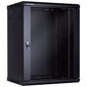 """Szafa rack 19"""" 15U 600x450, wisząca, z szybą, jednosekcyjna, czarna (Linkbasic WCB15-645-BAA-C)"""