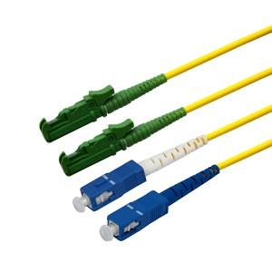 Patchcord światłowodowy jednomodowy, E2000/APC-SC/PC, SM 9/125, LS0H, duplex, 2m