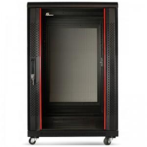 """Szafa rack 19"""" 15U 600x800, stojąca, z szybą, czarna"""