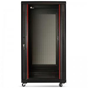 """Szafa rack 19"""" 22U 600x600, stojąca, z szybą, czarna"""