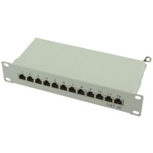 """Patch panel 12 portów STP kat. 5e RJ-45 1U 10"""" z podstawką"""