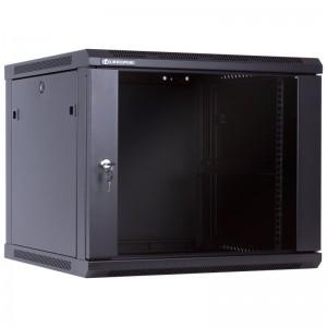 """Szafa rack 19"""" 9U 600x600, wisząca, z szybą, jednosekcyjna, czarna (Linkbasic WCB09-66-BAA-C)"""