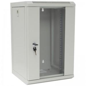 """Szafa rack 10"""" 9U 312x300, wisząca, z szybą, jednosekcyjna, szara (Base Link BL-SRW100930SM-1S)"""