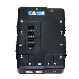 Przełącznik KVM 4-portowy, konsola USB, audio (Base Link BL-KVMD04)