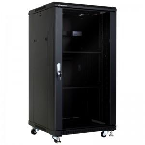 """Szafa rack 19"""" 22U 600x600, stojąca, z szybą, czarna (Linkbasic NCB22-66-BAA-C)"""