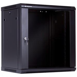 """Szafa rack 19"""" 12U 600x450, wisząca, z szybą, jednosekcyjna, czarna (Linkbasic WCB12-645-BAA-C)"""