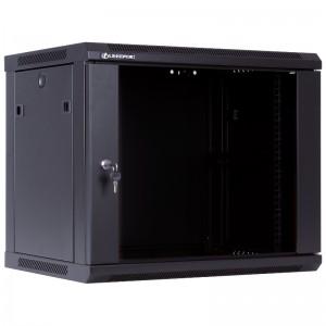"""Szafa rack 19"""" 9U 600x450, wisząca, z szybą, jednosekcyjna, czarna (Linkbasic WCB09-645-BAA-C)"""