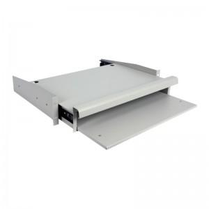 """Półka wysuwana pod klawiaturę / monitor, gł. 335mm, 2U, 19"""", szara (Linkbasic)"""