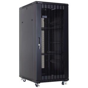 """Szafa rack 19"""" 27U 600x800, stojąca, perforowana, czarna (Linkbasic NCB27-68-IFA-C-STD)"""