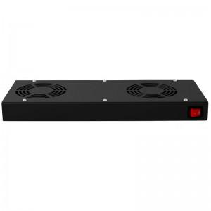 Panel wentylacyjny x2 dachowo-rackowy z termostatem (CZARNY)