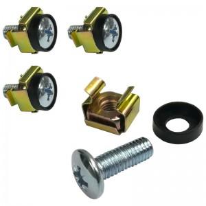 Zestaw montażowy RACK M6 (śruba + koszyczek + podkładka), 4szt, żółty