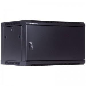 """Szafa rack 19"""" 6U 600x450, wisząca, metalowa, jednosekcyjna, czarna (Linkbasic WCB06-645-AAA-C)"""