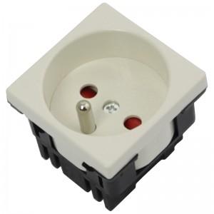 Gniazdo elektryczne 45x45, proste, białe, 230V