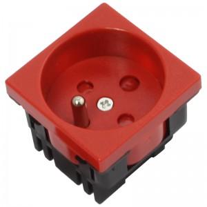 Gniazdo elektryczne 45x45, proste, czerwone (DATA), z blokadą, 230V