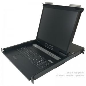 "Konsola KVM LCD | 19"" | 8-portowy KVM | RJ-45 | pojedyncza szyna (Annso KVM-1908ASL-M2"