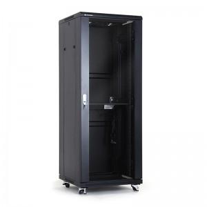 "Szafa rack 19"" 27U 600x600, stojąca, z szybą, czarna (Linkbasic NCE27-66-BAA-C)"