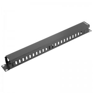 """Organizator kabli poziomy 19"""" 1U, grzebieniowy, czarny (Lanberg AK-1201-B)"""