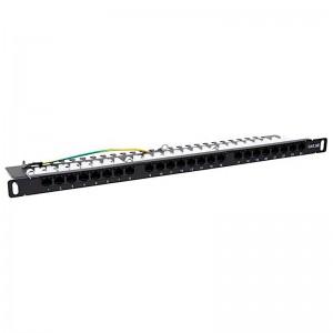 """Patch panel 24 porty STP kat. 5e RJ-45 0,5U 19"""" z podstawką"""