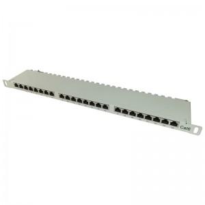 """Patch panel STP 19"""" 24x RJ45 kat.6, 0,5U z podstawką (szary)"""