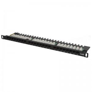 """Patch panel UTP 19"""" 24x RJ45 kat.6, 0,5U z podstawką, złącza KRONE"""