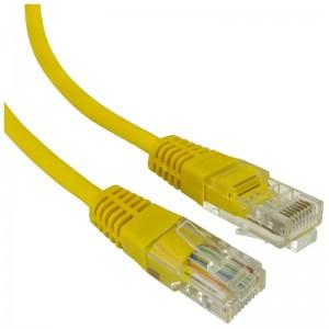 Patchcord U/UTP kat.5e 1,0m żółty