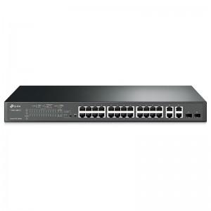 "TP-Link T1500-28PCT / TL-SL2428P, 24xFE PoE+ 192W , 2xGE, 2xGE (SFP/RJ-45), 19"""