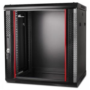 """Szafa rack 19"""" 12U 600x600, wisząca, z szybą, jednosekcyjna, czarna (Getfort WGF12-66EH-WGB)"""