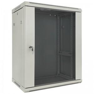 """Szafa rack 19"""" 15U 600x450, wisząca, z szybą, jednosekcyjna, szara (Base Link BL-SRW1915645SM-1S)"""
