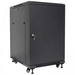 """Szafa rack 19"""" 15U 600x600, stojąca / wisząca, metal, czarna (Base Link BL-SRW1915660MMK-1C)"""