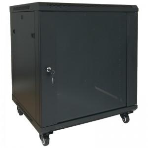 """Szafa rack 19"""" 15U 600x600, stojąca / wisząca, z szybą, czarna (Base Link BL-SRW1915660SMK-1C)"""