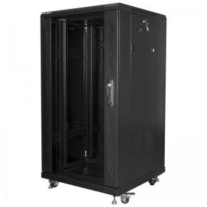 """Szafa rack 19"""" 22U 600x600, stojąca, z szybą, czarna (Lanberg FF01-6622-12B)"""