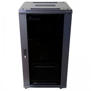 """Szafa rack 19"""" 22U 600x800, stojąca, z szybą, czarna - Extralink EX.14398"""