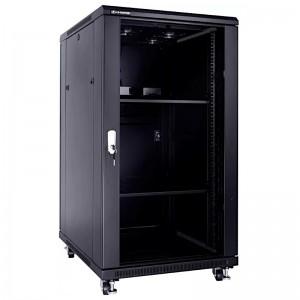 """Szafa rack 19"""" 22U 600x800, stojąca, z szybą, czarna (Linkbasic NCB22-68-BAA-C)"""