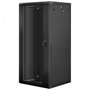 """Szafa rack 19"""" 27U 600x600, wisząca, z szybą, jednosekcyjna, czarna (Lanberg WF01-6627-10B)"""