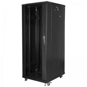 """Szafa rack 19"""" 32U 600x800, stojąca, z szybą, czarna (Lanberg FF01-6832-12B)"""