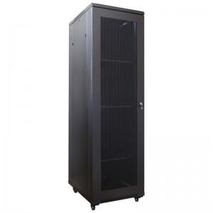 """Szafa rack 19"""" 42U 600x1000, stojąca, z perforacją, czarna (Base Link BL-SRS19426100PM-1C)"""