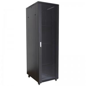 """Szafa rack 19"""" 42U 600x600, stojąca, z szybą, czarna (Base Link BL-SRS1942660SM-1C)"""