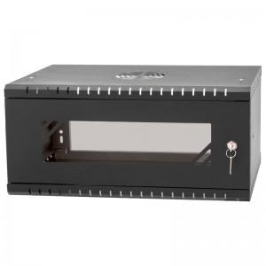 """Szafa rack 19"""" 4U 525x450, wisząca, z szybą, jednosekcyjna, czarna (Stalflex)"""