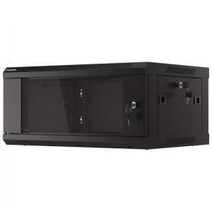 """Szafa rack 19"""" 4U 600x450, wisząca, z szybą, jednosekcyjna, czarna (Lanberg WF01-6404-10B)"""