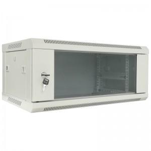 """Szafa rack 19"""" 4U 600x450, wisząca, z szybą, jednosekcyjna, szara (Base Link BL-SRW1904645SM-1S)"""