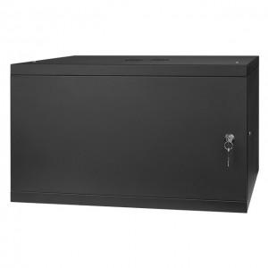 """Szafa rack 19"""" 6U 525x450, wisząca, metalowa, jednosekcyjna, czarna (Stalflex)"""