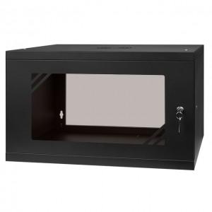 """Szafa rack 19"""" 6U 525x450, wisząca, z szybą, jednosekcyjna, czarna (Stalflex)"""