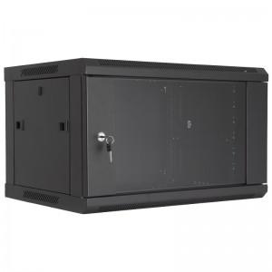 """Szafa rack 19"""" 6U 600x450, wisząca, z szybą, jednosekcyjna, czarna (Base Link BL-SRW1906645SM-1C)"""