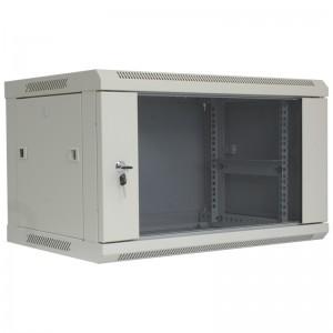 """Szafa rack 19"""" 6U 600x450, wisząca, z szybą, jednosekcyjna, szara (Base Link BL-SRW1906645SM-1S)"""