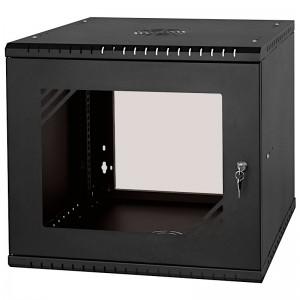 """Szafa rack 19"""" 9U / 450mm, wisząca, z szybą, jednosekcyjna, czarna (Stalflex RC19-9U-450GB)"""
