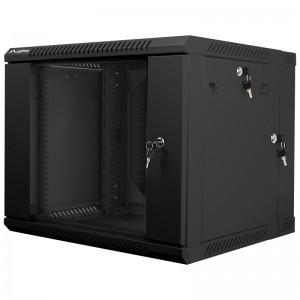 """Szafa rack 19"""" 9U 600x600, wisząca, z szybą, dwusekcyjna, czarna (Lanberg WF02-6609-10B)"""